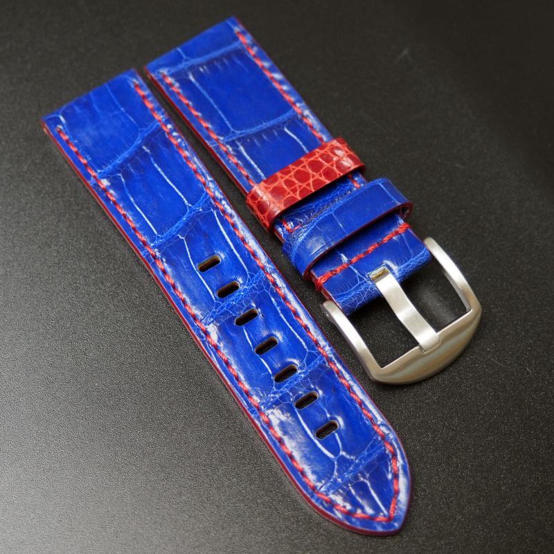 24mm Panerai 經典紫色鱷魚皮手工錶帶配針扣