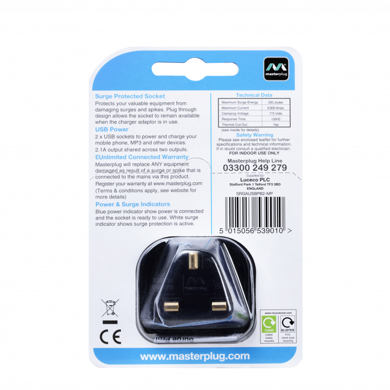 Masterplug 2位USB2.1A及1位13A防雷插蘇 黑白2色可選 Surge USB Adaptor SRGAUSBPB2/ SRGAUSBPW2