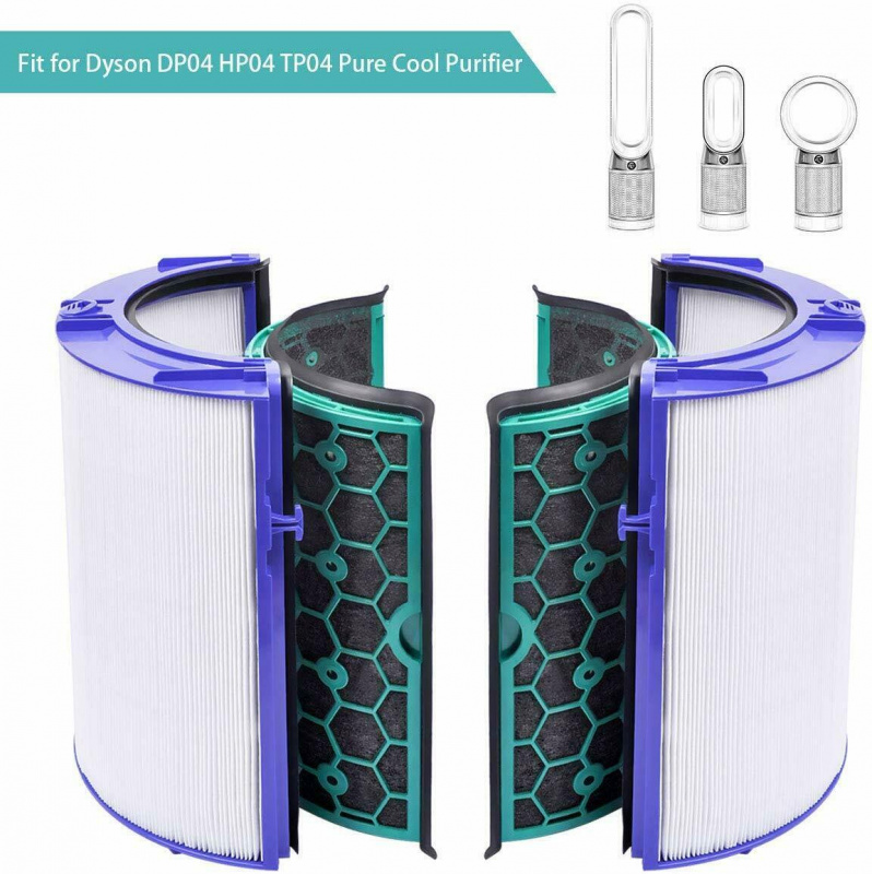 4入完整過濾網HEPA含活性碳濾芯適用於 Pure Cool Link TP04 DP04 Hot + Cool Link HP04空氣清新機