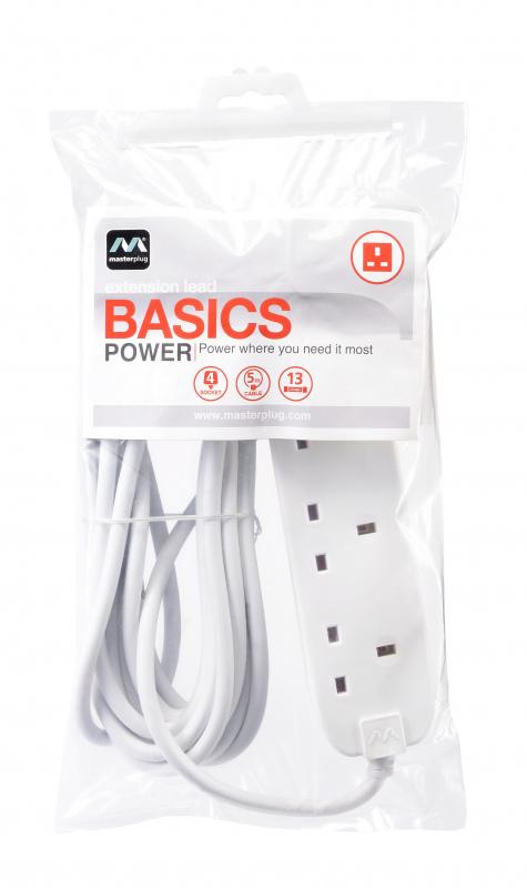 Masterplug 4位X13A 2米拖板 白色 - BFG2N x 2 個 Basic 4 socket extension leads 2pcs White