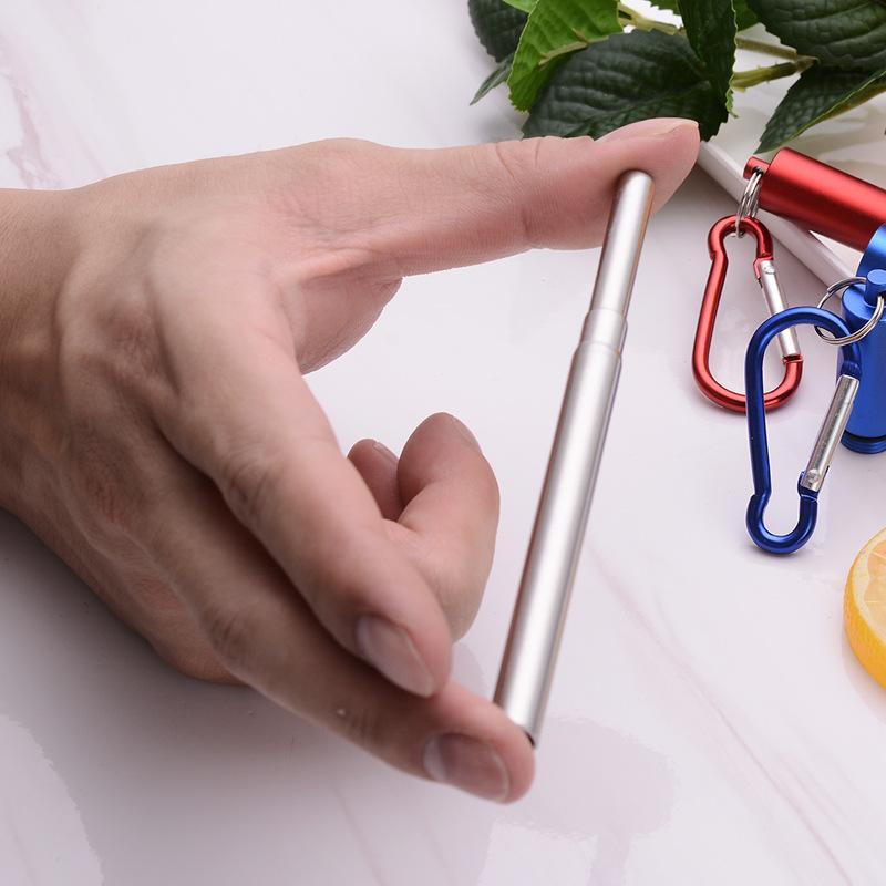環保伸縮便攜式不鏽鋼飲筒鑰匙扣 [銀色]