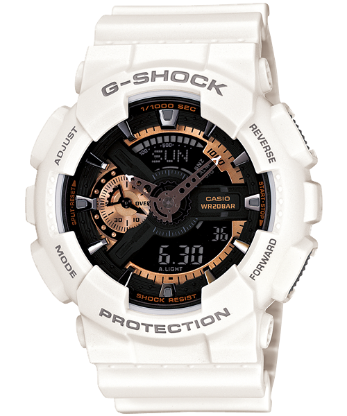 Casio G-Shock雙顯手錶 (白色) [GA-110RG-7A]