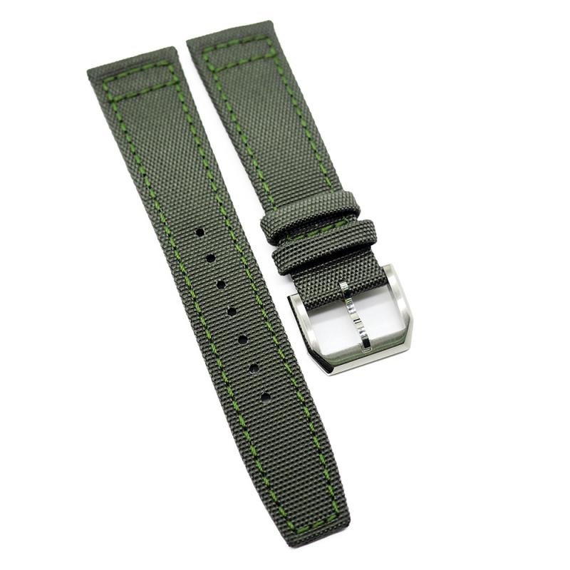 20mm, 21mm, 22mm IWC Style 軍綠色尼龍錶帶