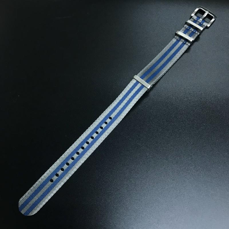 20mm 藍/灰色Nato Style高質尼龍錶帶 適合Rolex Omega, IWC ,Tudor