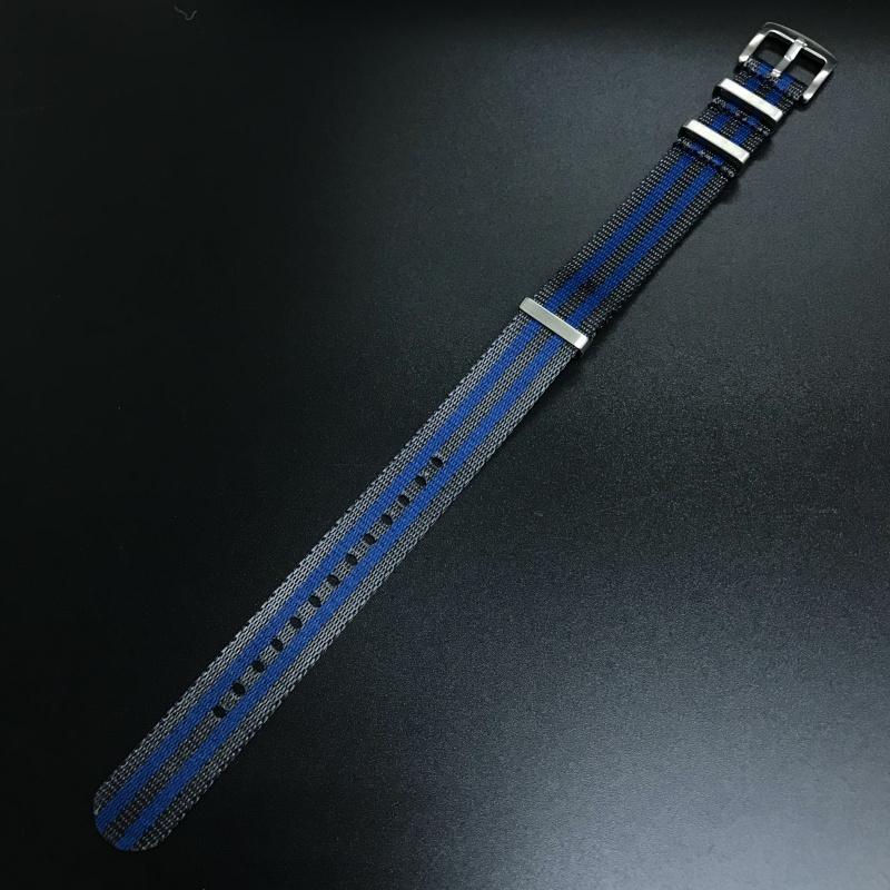 20mm, 22mm 藍/深灰色 Nato 尼龍錶帶