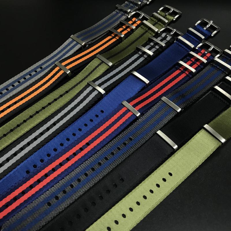 20mm, 22mm 藍/紅色 Nato 尼龍錶帶