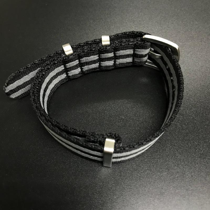 20mm, 22mm 黑/灰色 Nato Style 高質尼龍錶帶