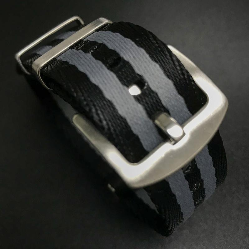 20mm 黑/灰色Nato Style高質尼龍錶帶 適合Rolex Omega, IWC ,Tudor