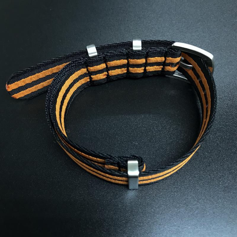 20mm, 22mm 黑/橙色 Nato 尼龍錶帶