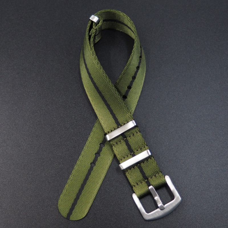 20mm, 22mm 綠/黑色 Nato 尼龍錶帶