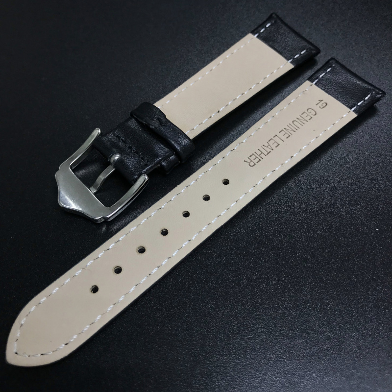 19mm 黑色牛皮錶帶