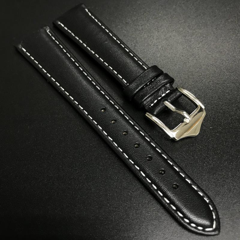 19mm 黑色牛皮白車線錶帶