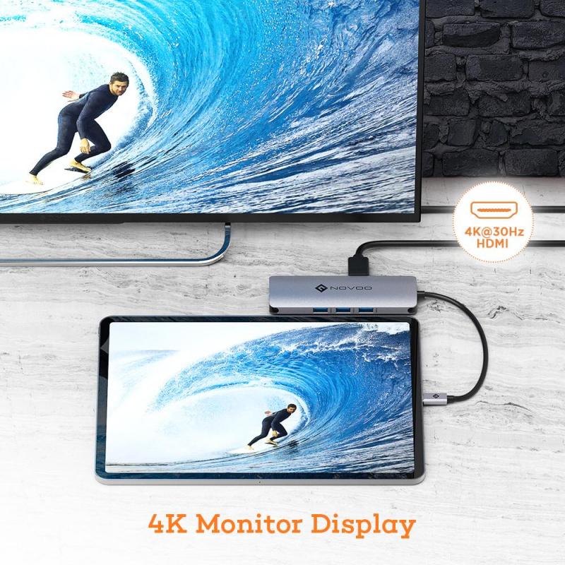 【香港行貨】NOVOO Type-C HUB 8-in-1 with 4K HDMI 金屬外殼