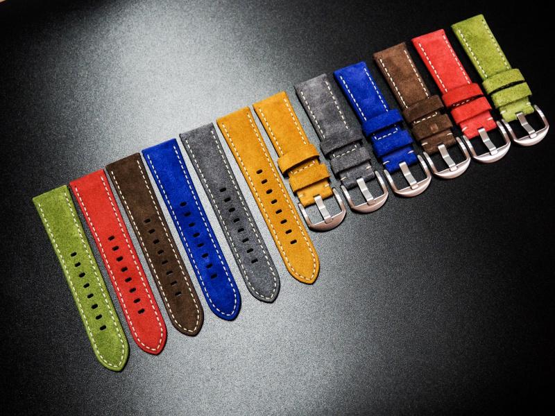 22mm黃綠色意大利牛皮手工錶帶配白縫線 適合IWC, Panerai, Omega, Seiko
