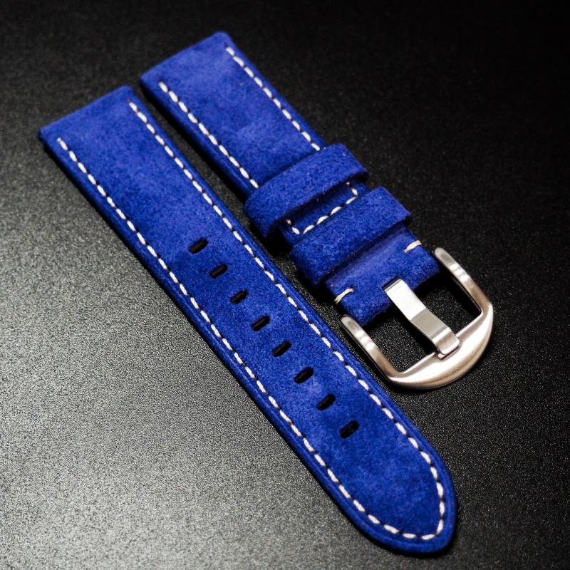 22mm 藍色意大利牛皮手工錶帶配白縫線 IWC, Panerai, Omega, Tudor, Seiko