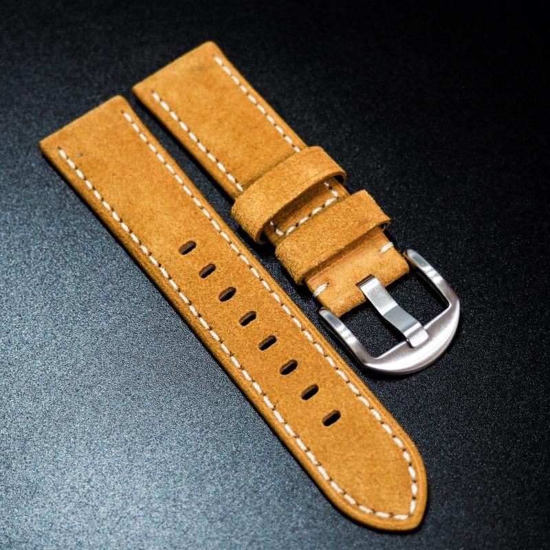 全新22mm 蜜糖橙意大利牛皮手工錶帶配白縫線 適合IWC, Panerai, Omega, Tudor