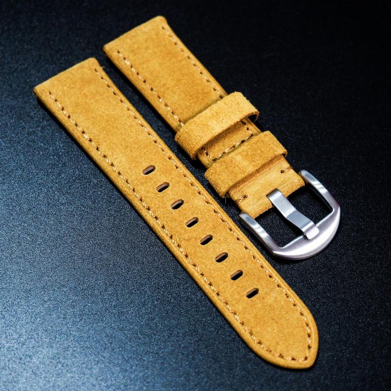 全新22mm蜜糖橙意大利牛皮手工錶帶 適合IWC, Panerai, Omega, Tudor