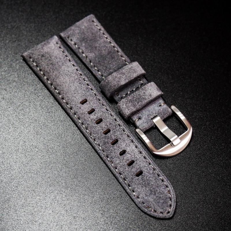 22mm暗灰色意大利牛皮手工錶帶 適合IWC, Panerai, Omega, Tudor