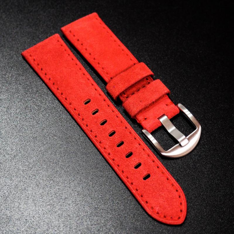 22mm 紅色意大利牛皮手工錶帶 適合IWC, Panerai, Omega, Tudor, Seiko
