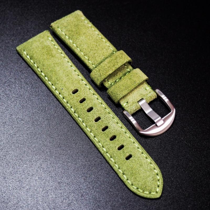 22mm 黃綠色意大利牛皮手工錶帶 適合IWC, Panerai, Omega, Tudor