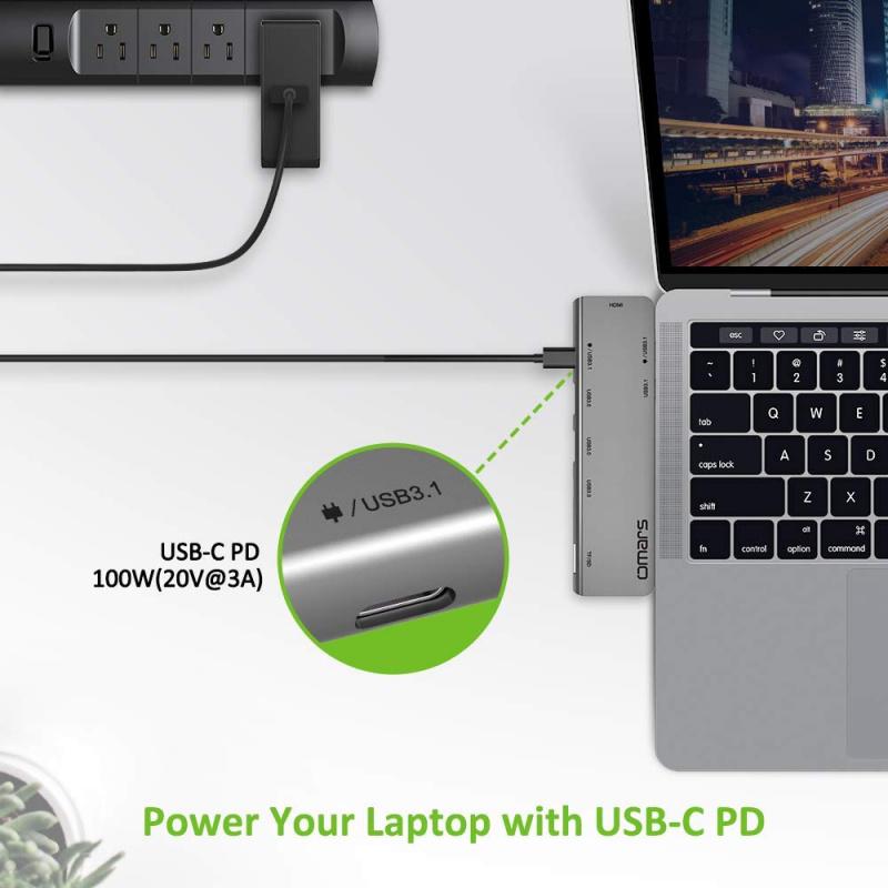 【香港行貨】OMARS - USB C Hub Adapter, 7 in 1 Dual Type-C Docking Station Omars Thunderbolt 3 USB C Adapter, 4K HDMI