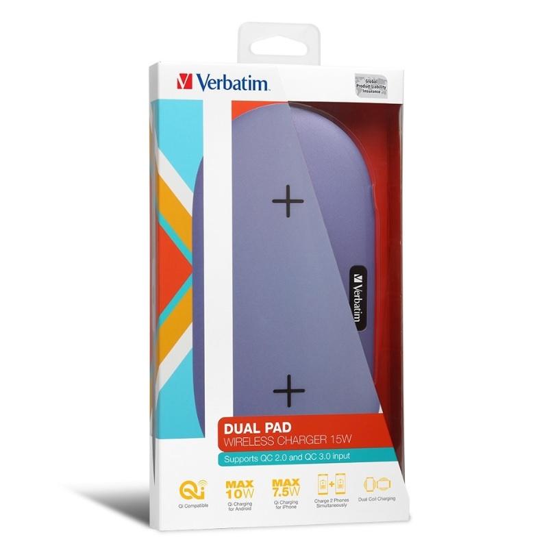 Verbatim 15W Dual Pad Wireless Charger (66094/66096) 快速充電無線移動電源 【行貨保養】