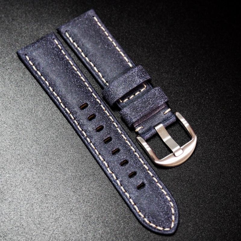 全新22mm 懷舊藍色意大利牛皮手工錶帶配白縫線 適合IWC, Panerai, Omega, Tudor, Seiko