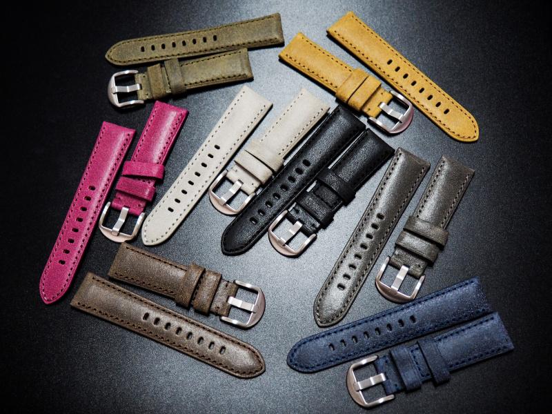 全新22mm 懷舊橄欖綠意大利牛皮手工錶帶 適合IWC, Panerai, Omega, Tudor, Seiko