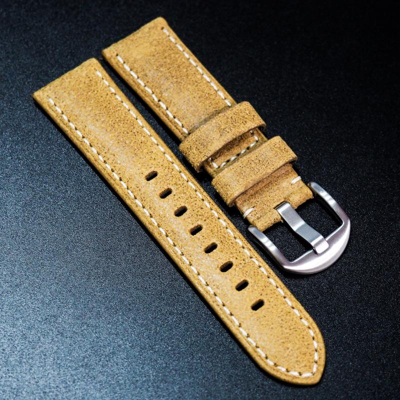 全新22mm 懷舊橙色意大利牛皮手工錶帶配白縫線 適合IWC, Panerai, Omega, Tudor, Seiko