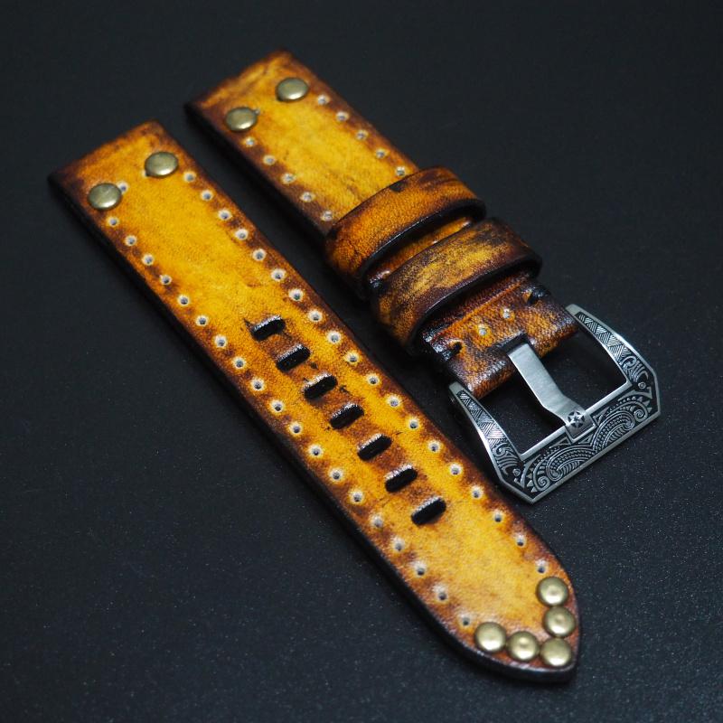 全新22mm 黃色經典柳釘牛皮手工錶帶 適合IWC, Panerai, Omega, Tudor, Seiko