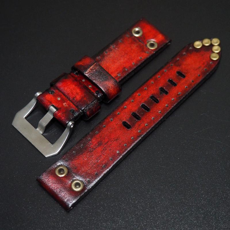 全新22mm 紅色經典柳釘牛皮手工錶帶 適合IWC, Panerai, Omega, Tudor, Seiko