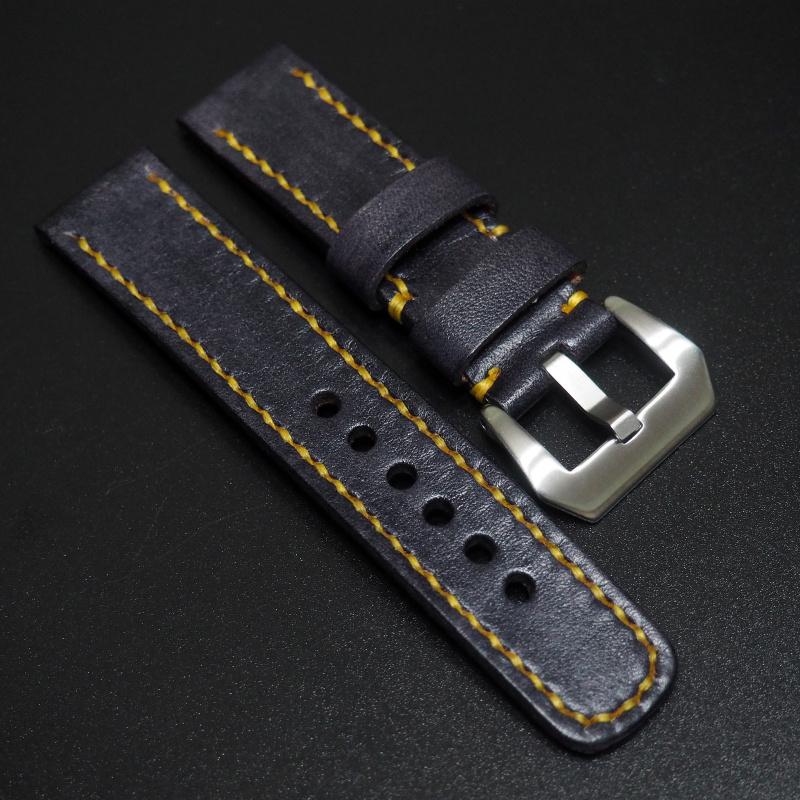 全新22mm 深藍經典牛皮手工錶帶 適合IWC, Panerai, Omega, Tudor, Seiko
