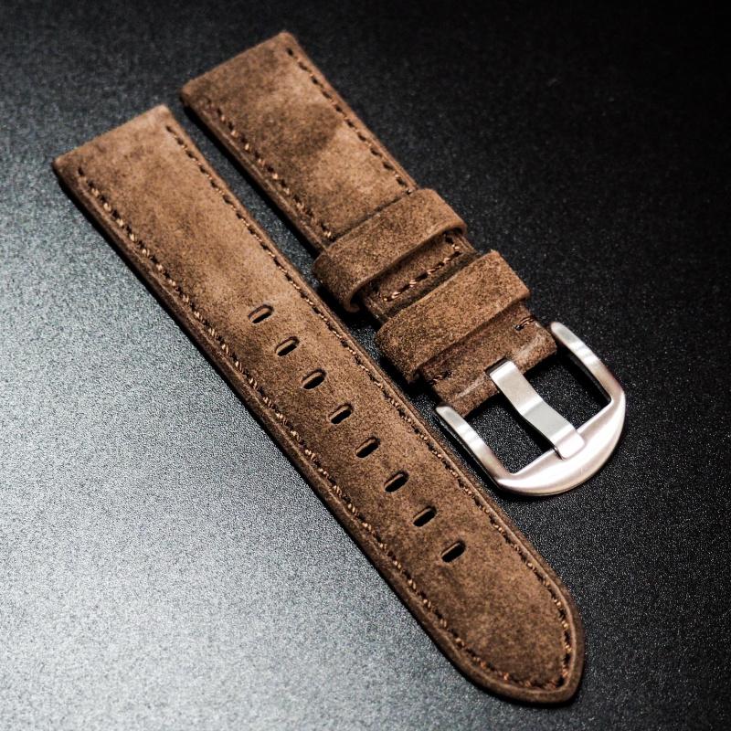 全新 22mm 棕色意大利猄皮手工錶帶