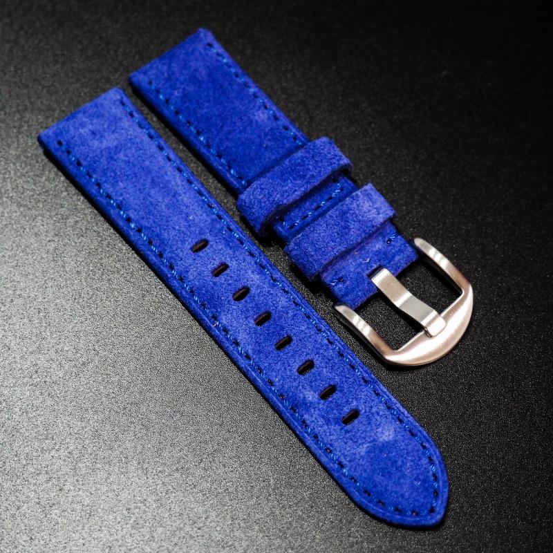 全新22mm 藍色意大利牛皮手工錶帶 適合IWC, Panerai, Omega, Tudor, Seiko