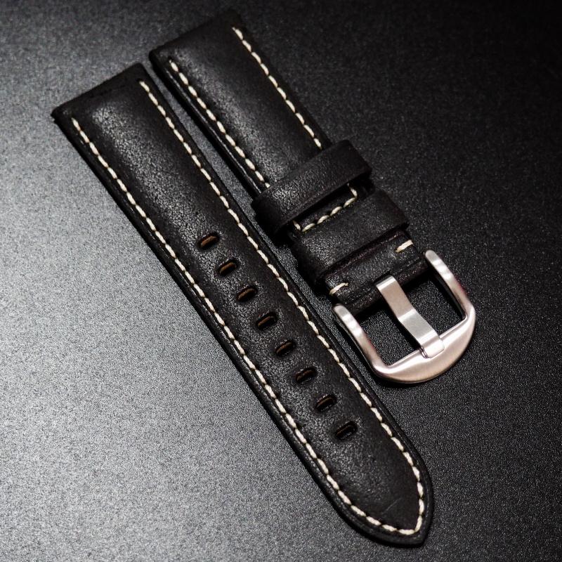 全新22mm 懷舊黑色意大利牛皮手工錶帶配白縫線 適合IWC, Panerai, Omega, Tudor