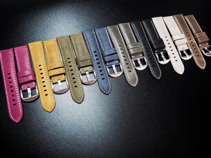 全新22mm 懷舊暗綠意大利牛皮手工錶帶配白縫線 適合IWC, Panerai, Omega, Tudor, Seiko
