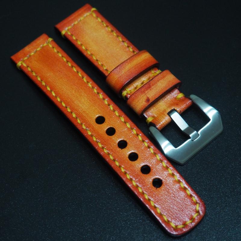 全新 22mm 橙色經典牛皮手工錶帶 適合IWC, Panerai, Omega, Tudor, Seiko