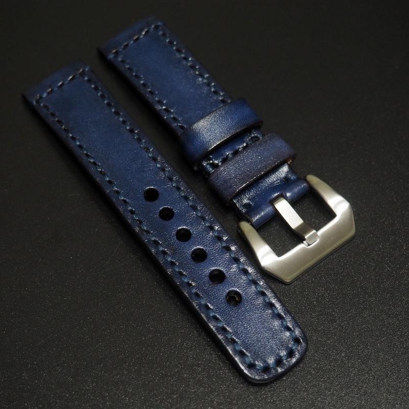 全新22mm 藍色經典牛皮手工錶帶 適合IWC, Panerai, Omega, Tudor, Seiko