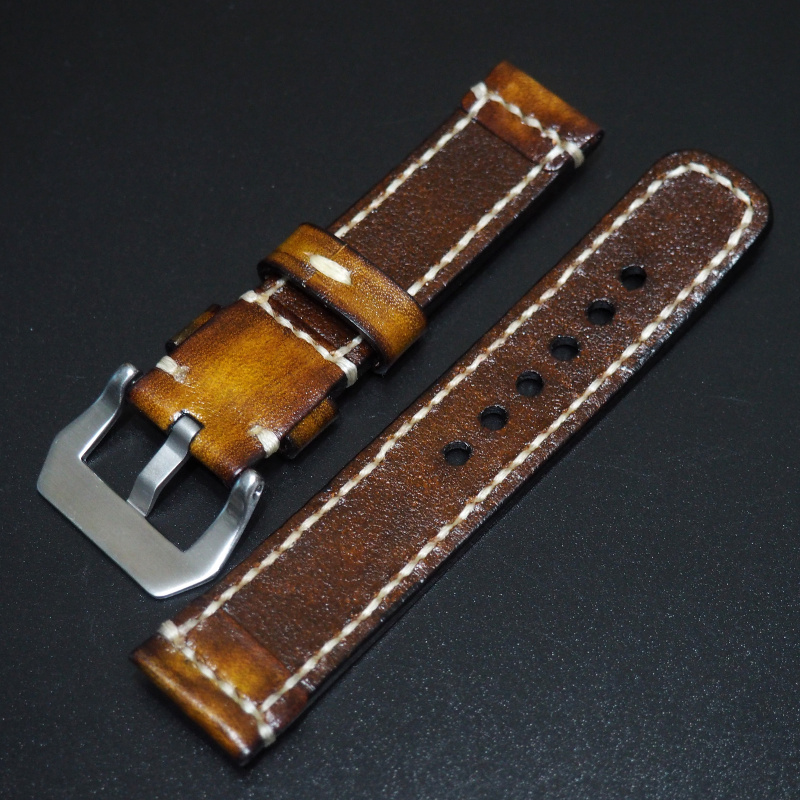 全新22mm 棕色經典牛皮手工錶帶 適合IWC, Panerai, Omega, Tudor, Seiko