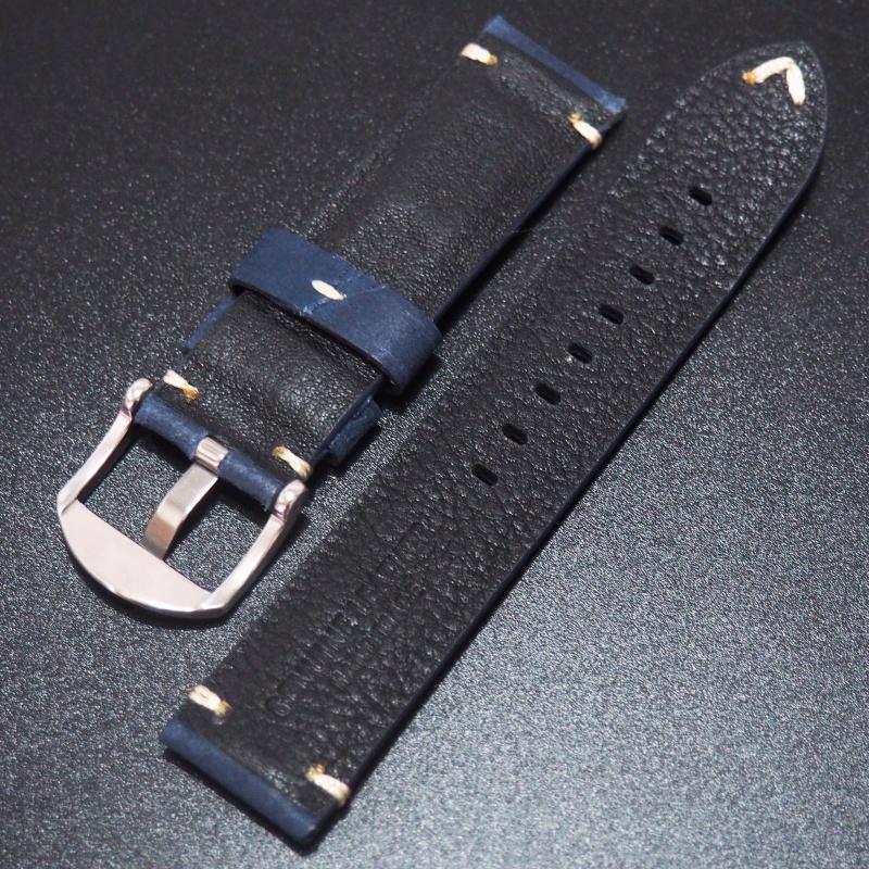 全新22mm 懷舊深藍色意大利牛皮手工錶帶 適合Iwc, Panerai, Omega, Tudor, Seiko