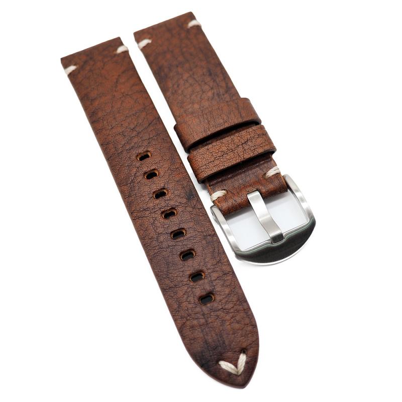 22mm 復古橙紅色意大利牛皮手工錶帶