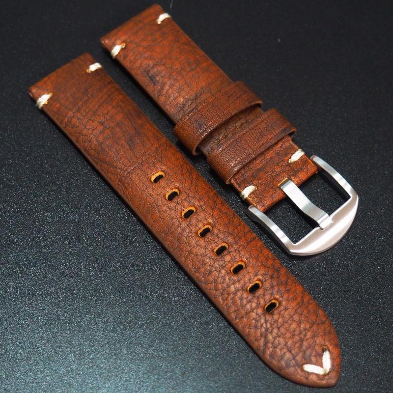 全新22mm 懷舊橙紅色意大利牛皮手工錶帶 適合IWC, Panerai, Omega, Tudor, Seiko