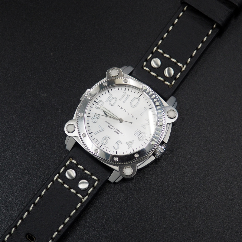 22mm 黑色雙釘牛皮粗線錶帶