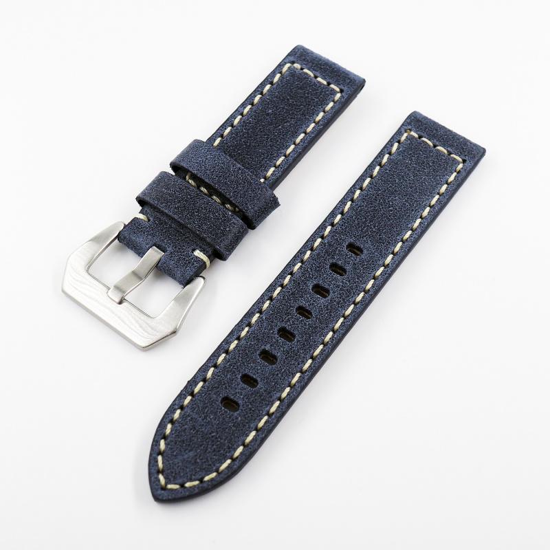 22mm通用錶帶 意大利真皮 藍色牛皮錶帶配316L精鋼錶扣 適合Panerai, Seiko, Hamilton, Citizen, Tudor
