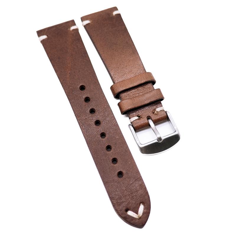 22mm 意大利棕色復古牛皮錶帶