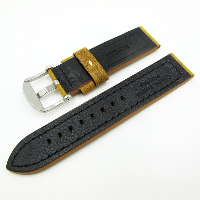 全新22mm代用錶帶 手工皮革 意大利軟身黃色牛皮通用錶帶配316L精鋼針扣 合適 Panerai, Seiko, Tudor, Citizen, Omega or any watch