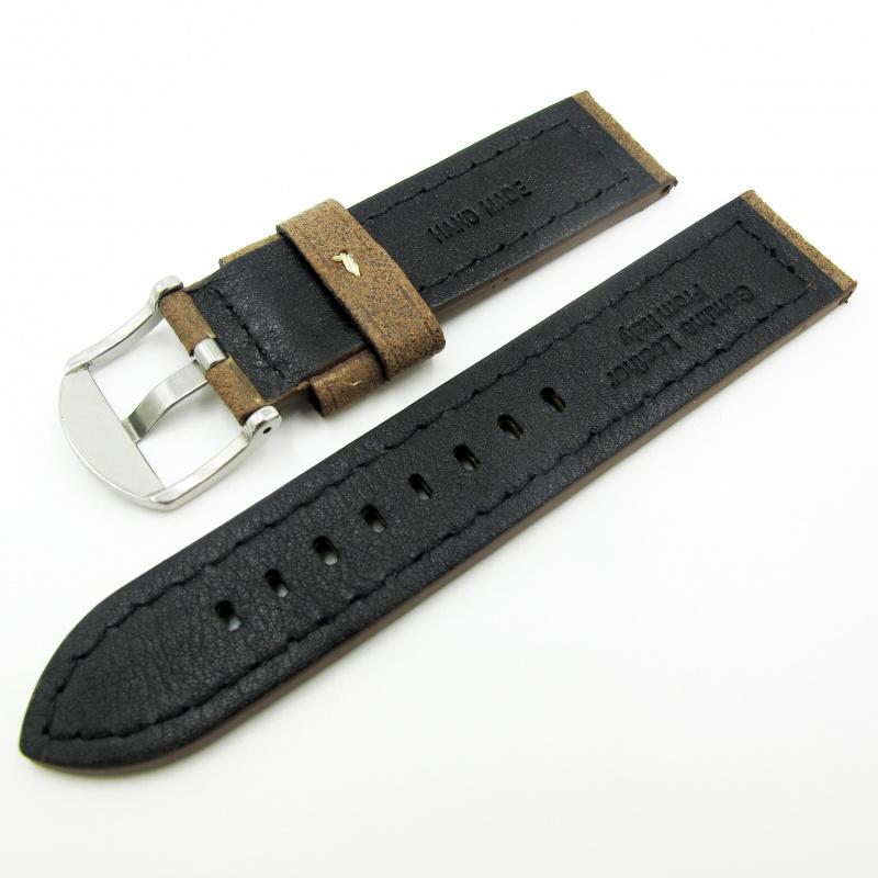 全新22mm代用錶帶 手工皮革 意大利軟身駝色牛皮通用錶帶配316L精鋼針扣 合適 Panerai, Seiko, Tudor, Citizen, Omega or any watch