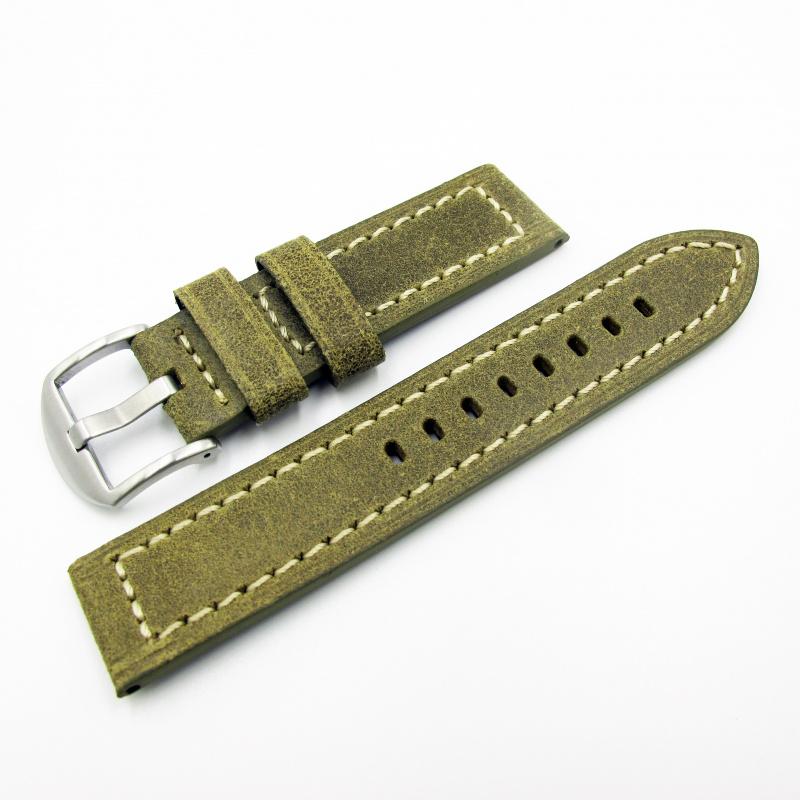 全新22mm代用錶帶 手工皮革 意大利軟身黃綠色牛皮通用錶帶配316L精鋼針扣 合適 Panerai, Seiko, Tudor, Citizen, Omega or any watch