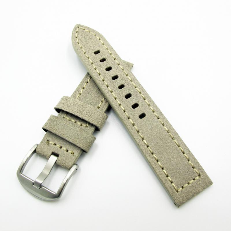 全新22mm代用錶帶 手工皮革 意大利軟身灰白色牛皮通用錶帶配316L精鋼針扣 合適 Panerai, Seiko, Tudor, Citizen, Omega or any watch