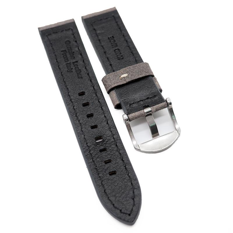22mm 深灰色意大利油蠟猄皮錶帶